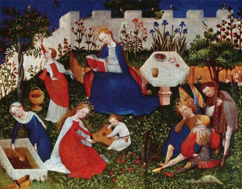 Anónimo, Maria en el huerto cerrado con santos, siglo XV