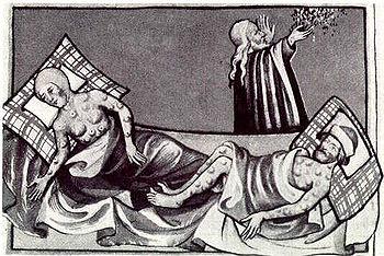 Ilustración de la Peste en la Biblia de Toggenburg (1411)