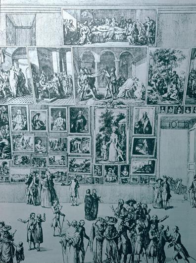 Salón de 1785 que muestra El Juramento de los Horaciosde J. L. David. ARTstorCollection: ARTstorSlideGallery. 27 de septiembre de 2012.
