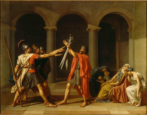 David, Jacques-Louis. The Oath of the Horatii. 1784. Oiloncanvas, 330 x 425 cm. Musée du Louvre, France. ARTstorCollection:Réunion des MuséesNationaux (RMN). 19 de junio 2012