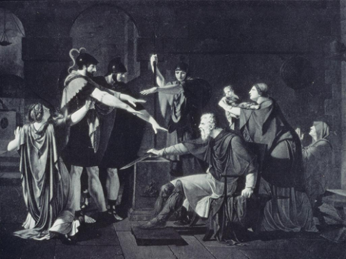 Caraffe, Armand. The Oath of the Horatii. 1791. Oil on canvas, 88 x 114 cm. Arkhangel'skoe (Museum). ARTstorCollection: ARTstorSlideGallery. 27 de septiembre de 2012.