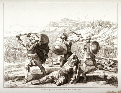 Pinelli, Bartolomeo. Battle of the Horatii and the Curatii Under the Reign of Tullo Ostilio. ha.1800. Etching, 34.4 x 44.8 cm. Fine Arts Museums of San Francisco, USA. ARTstor Collection: Fine Arts Museums of San Francisco Collection. 27 de septiembre de 2012.